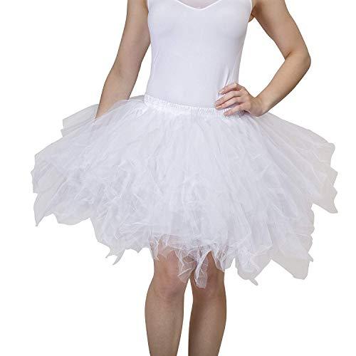 Dancina Damen Petticoat 50er Jahre Retro Tutu Tüllrock Normale und Große Größen, Weiß, Gr. 36-40
