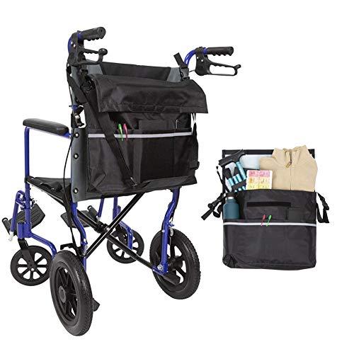 HEWYHAT Rollstuhltasche Hinten Wasserdicht Oxford Rollstuhl Tasche Groß Schwarz Rollstuhl Rucksack Aufbewahrungstasche mit reflektierenden Streifen für Rollstuhl Griffe