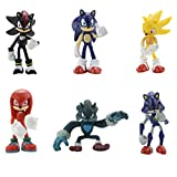 Sonic The Hedgehog Action Figures 6pcs Set 2.16-2.75 inch Super Sonic Toys Set Sonic Metal Sonic Knuckles Shadow Werehog Toys