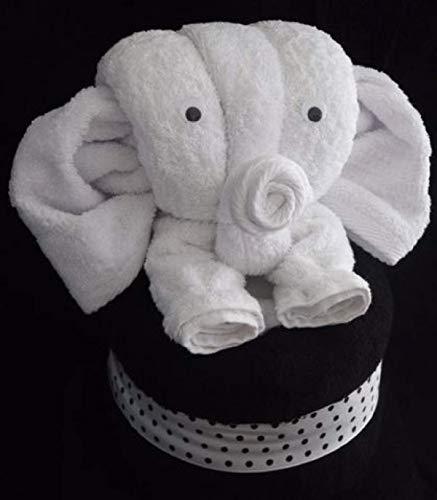 Elefant als Handtuch-Tier in weiß auf schwarz, Handtuchfigur