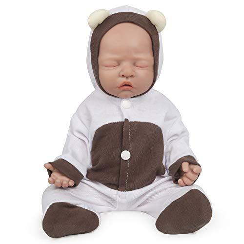 Vollence 46 cm schlafende Voll-Silikon Baby Puppen, Nicht Vinyl Puppen, Augen geschlossen Realistische Reborn Baby Puppen, Newborn Baby Puppe, Real Lifelike Baby Puppen - Mädchen