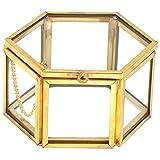 KDOI Hexagone en Verre Transparent Boîte de Bague de Mariage GéOmétrique en à Bijoux Boîte de Rangement de Bijoux Plateau de Table à Manger Rangement de Bijoux à Domicile