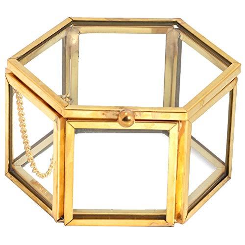 Bayda HexáGono Caja de Anillo de Vidrio Transparente Caja de Anillo de Boda Caja de JoyeríA de Vidrio Transparente GeoméTrica Organizador de JoyeríA Soporte JoyeríA para el Hogar