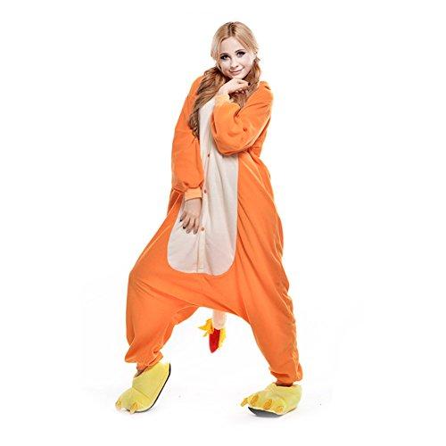 LSHEL Erwachsenen Tier Pyjama Jumpsuit Cosplay Unisex Cartoon Karneval Halloween Kostüm Fleece Overall Pyjamas, Gelb Drache, M (empfohlene Höhe 156-164 cm)