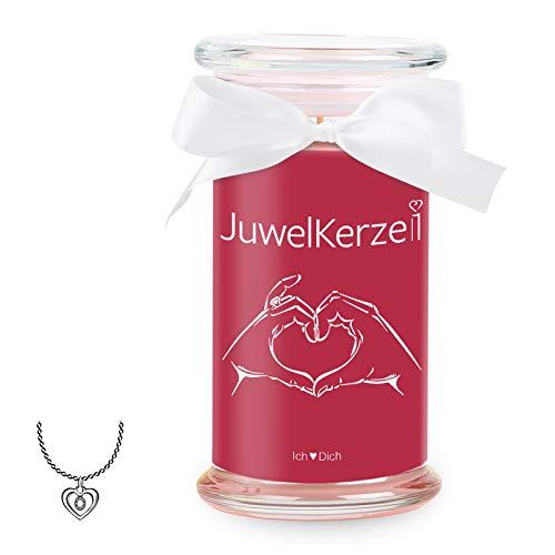 JuwelKerze Ich Liebe Dich - Kerze im Glas mit Schmuck - Große rote Duftkerze mit Überraschung als Geschenk für Sie (Silber Halskette & Anhänger, Brenndauer: 90-120 Stunden)