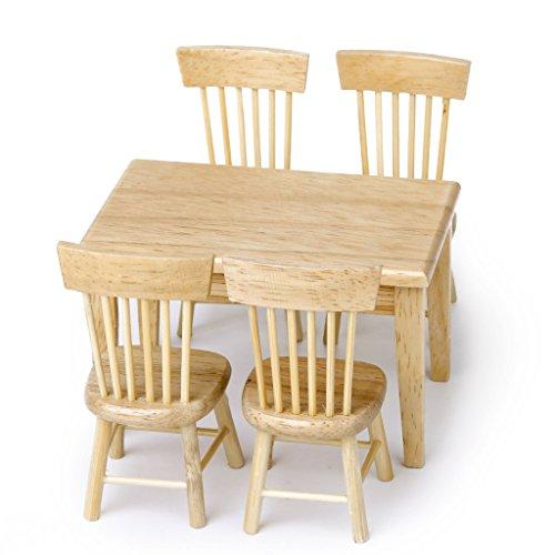 TOOGOO(R) 5 pieces ensemble salle a manger chaise Modele Maison de poupee meubles miniatures en bois 1/12