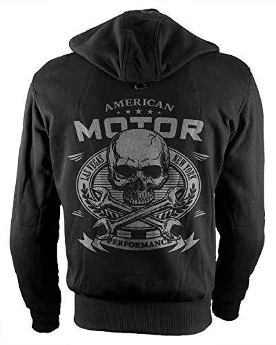 Rebel on Wheels Biker-Hoodie Motorrad-Hoodie Aramid American Motor Schwarz Kapuzen Jacke Motorrad L