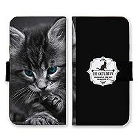 Galaxy S10+ (docomo SC-04L / au SCV42) (L) 手帳型 スマホ ケース カバー スマホケース スマホカバー 子猫 ブルーeye ブラック GalaxyS10 ギャラクシーS10 21651