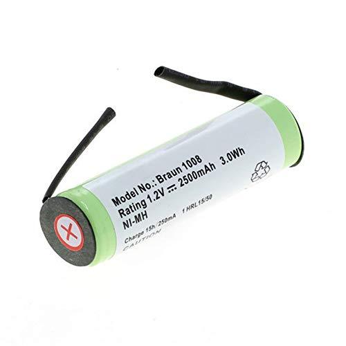 subtel® Qualitäts Akku kompatibel mit Braun Oral B/Braun Series 3 / Series 5 / Series 7 (Ø14mm), 2500mAh Ersatzakku Batterie