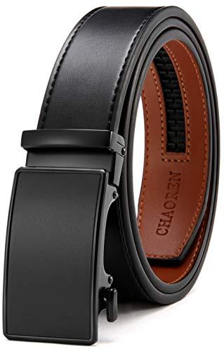 Mens Belt, Ratchet Belt Dress with 1 3/8' Genuine Leather, Slide Belt with Easier Adjustable Buckle, Trim to Fit
