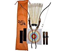 commercial FSFF Improved children's wooden bows and arrows, 2 bows, 2 arrows and 4 arrow quivers, 16 feather arrows … bow and arrow