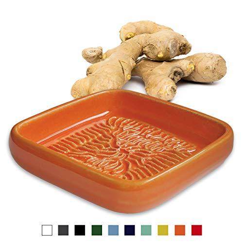 ANCKERAMIC® Ceramico Reibe – Muskatreibe, Ingwerreibe, Parmesanreibe aus Keramik, Handarbeit mit Design aus Finnland, (Orange)
