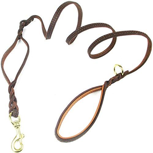 Lederen lijn dubbele greep gevlochten hondenriem luxe hondengeleider zachte dog leads short leash retro trainingslijn schouder voor middelgrote en grote honden, Large, bruin