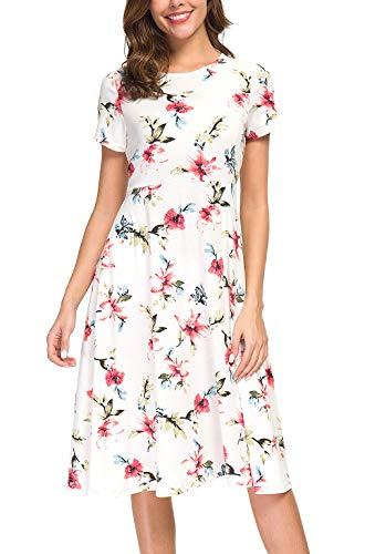 EXCHIC damska sukienka z kwiatowym nadrukiem z wysoką talią sukienka midi z krótkim rękawem