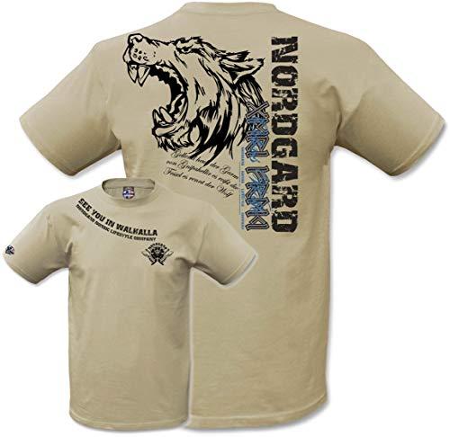 NORDGARD Shirt Odins Wà–LFE Wikinger Shirt für Damen und Herren des Modelabels , Sand, L