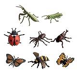 YeahiBaby Mini Insecto de Juguete Set Insecto Realista Figuras de Juguete Niños Juguetes Educativos para Niños Pequeños 8 Piezas