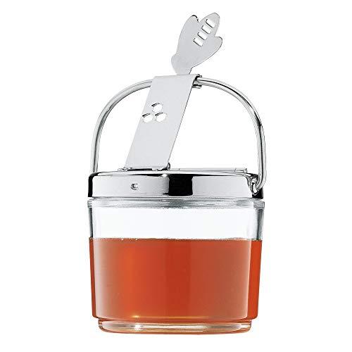 WMF Farm Honigglas mit Klappdeckel 8,8 cm, Honigbehälter, Bienensymbol, Glas, Cromargan Edelstahl, spülmaschinengeeignet