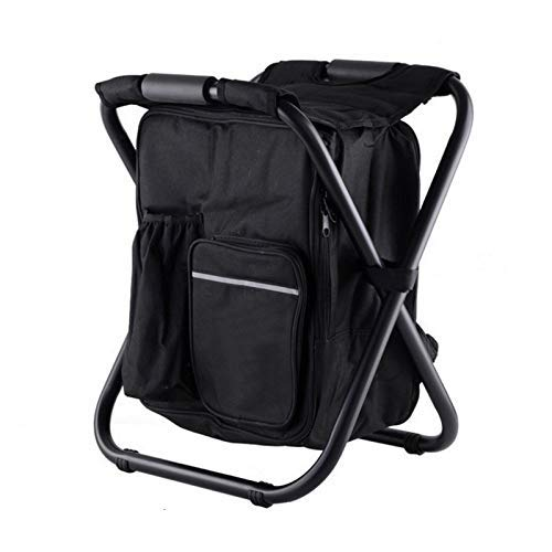 YG-ct Outdoor Folding Camping Vissen Chair Stool Portable rugzak koeler Geïsoleerde Zak van de Picknick Hiking Seat Table Bags Furniture dmqpp (Color : Black)
