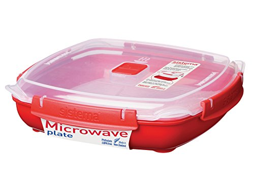 Sistema 1106ZS Microwave Large Plate with Removable Steaming Tray, 1.3 L - Red/Clear