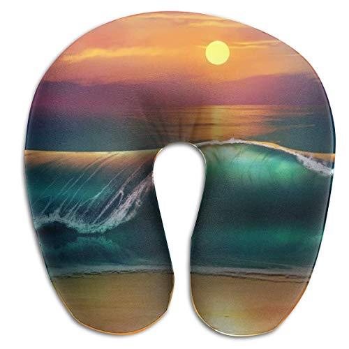 Cojín de Viaje Cojín de Espuma viscoelástica Soporte para el Cuello Sunset Beach Sea Waves Resto para avión Coche Inicio Vuelo Cabeza Barbilla Cubierta de Microfibra