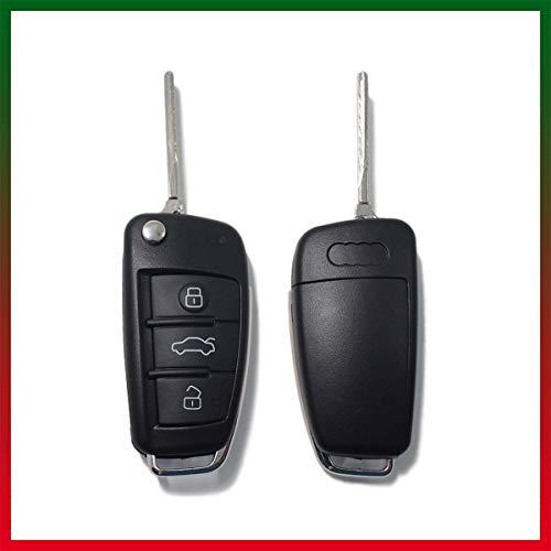 LAGE Chiave di Ricambio per Telecomando Audi A1 A3 A4 A6 A8 TT Q5 Q7 R8 S3 S4 S6 RS4 RS6, Guscio con Lama a 3 Tasti, Senza Elettronica Trasponder e Logo
