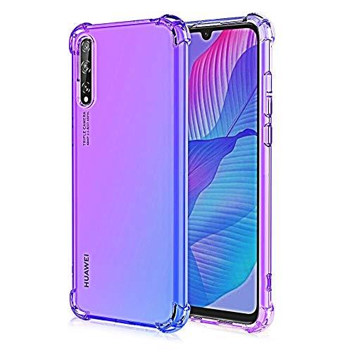 MISKQ Funda para Huawei Y8P, Fina Silicona TPU Carcasa Protector Airbag Anti caída Anti-Choque Anti-arañazos Case(púrpura/Azul)
