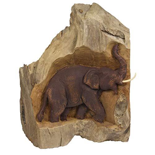 Oriental Galerie Skulptur Elefant Baum Baumstamm Deko Unikat Holz Teakholz Figur Natur Schnitzerei Elefantenschnitzerei Unikat Handwerkskunst