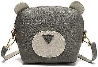 Docooler Women Mini Crossbody Bag PU Leather Cute Cartoon Face Zipper Contrast Small Messenger Shoulder Bag