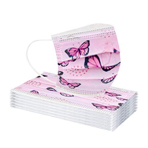 Hanomes 30/40 pc Erwachsene Einmal mundschutz mit Schmetterling Motiv, Einweg𝙢áśķė Atmungsaktive Bandana Staubdicht Face Cover Sommerschal für Damen und Herren