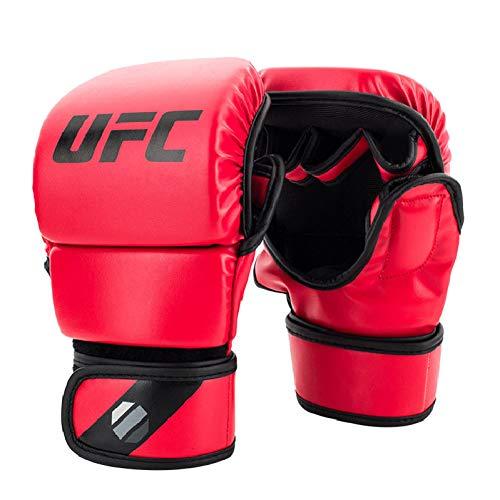 WOLIGEQ Boxhandschuhe Black Fighting MMA Boxing Sports Lederhandschuhe Tiger Muay Thai Kampf Box MMA Handschuhe Boxing Sanda Boxhandschuh Pads, UFC rot