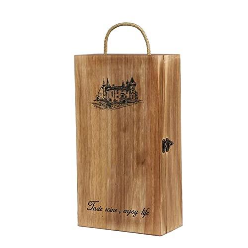 SGSDG Retro PortáTil Caja De Vino De Madera Dos Botellas DiseñO De Tablero De Tarjeta De Bloqueo De Metal Caja de Madera para Actividades De Fiesta para Celebrar Regalos Y Almacenar Vino Tinto