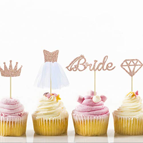 24 Roségoldfarbene Cupcake-Toppers für Diamond,Crown,Bride,3D Wedding Dress Cupcake Toppers für Bridal Shower Supplies, Partys, Bachelorette