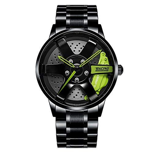 DriftElement Felgenuhr Herren - Motorsport Armbanduhr im 3D Felgendesign aus Edelstahl - Custom Designer Uhr mit Mineralglas - Quarzuhr (grün)