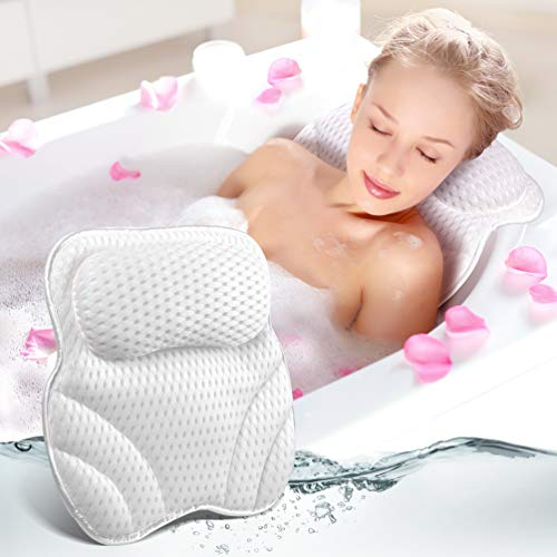 PRETTY SEE Badekissen mit 6 starken rutschfesten Saugnäpfen, bequemem Badekissen, Badewannenkissen mit Nackenstütze, ergonomischem Design, das für Whirlpool, Spa und Badewanne geeignet ist