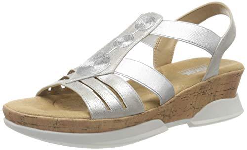 Rieker Damen Frühjahr/Sommer V7775 Geschlossene Sandalen, Silber (Silber 90), 36 EU