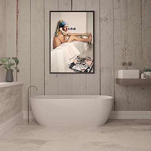 Póster de chica con un pendiente de perla, lienzo nórdico para baño, pintura en la pared, imagen artística impresa para baño, decoración del hogar, 50x70 cm sin marco