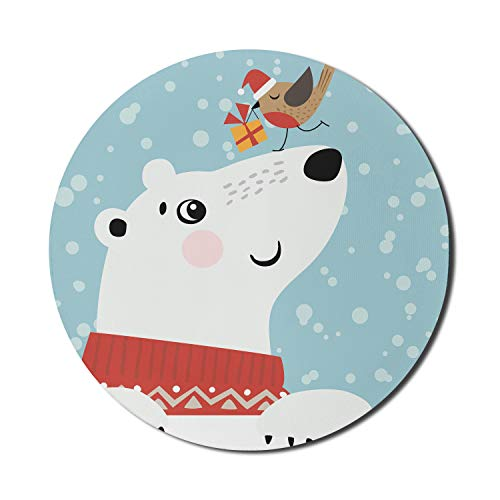 Lunarable Christmas Mouse Pad for Computers, Cartoon Style Drawing of Polar Bear and Little Bird with Tiny Present Box Winter, Round Non-Slip Thick Rubber Modern Gaming Mousepad, 8' Round, Multicolor