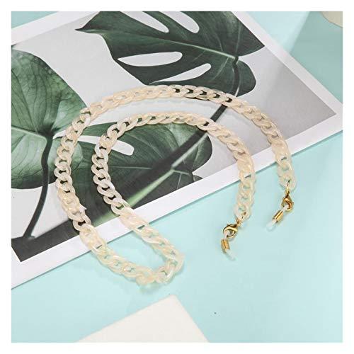 DSKLM Cadena de Gafas y cordón Cadena Mujeres Hombres acrílico Gafas Cadena en el Cuello Chic Gafas de Sol Cordones Accesorios Accesorios máscara Collar para decoración (Metal Color : Cream Gold)