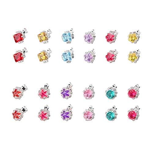 SOIMISS 24 Paar/Box Ohrclip Edelstein Ohrringe Prinzessin Kristall Clip auf Ohrringe für Kinder Mädchen (Zufällige Farbe)