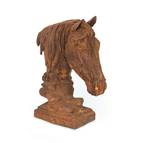 Antikas | Pferdekopf Als Mauer-Pfeiler | Filigrane Eisen Skulptur | Garten & Mauer Dekoration