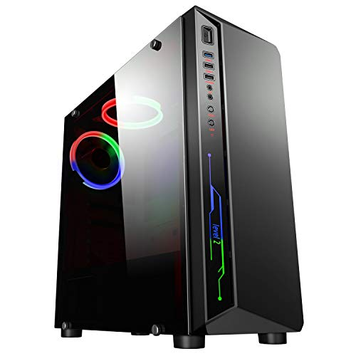 CiT Blitz Case per computer per videogiochi Mid-Tower ATX, illuminazione rossa-blu-verde, ventola con anello luminoso rosso-verde-blu, filtro per la polvere rimovibile, prezzo accessibile, colore nero
