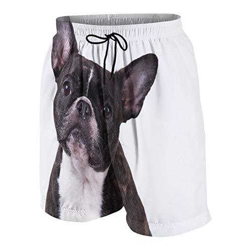 NOLOVVHA Uomo Personalizzato Costume da Bagno,Adorabile Bulldog Francese Sedendosi sul Bianco,Casuale Beachwear Costumi Pantaloncini da Surf