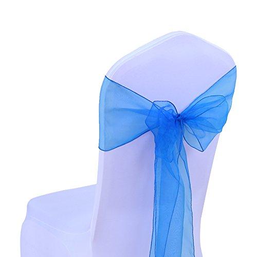 SINSSOWL - 100 cintas de organza para sillas, lazos de boda, decoración de ceremonia, fiesta de cumpleaños, 17 x 275 cm, 22 colores (no incluye las fundas de silla), color azul real