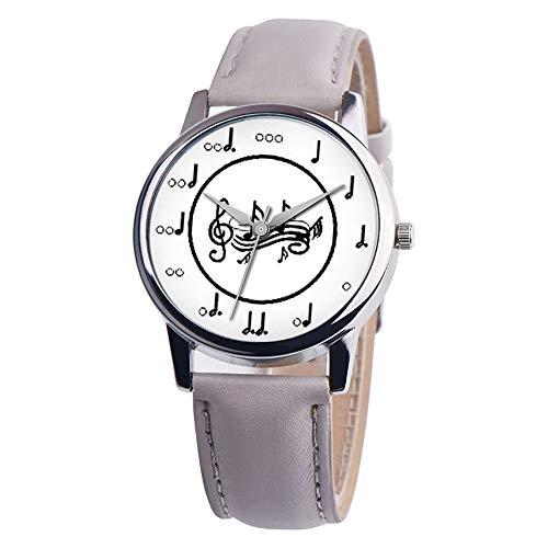 Rosepoem Reloj de Cuarzo Reloj de Pulsera para Mujer Moda Casual Nota Musical Banda de Cuero PU Negocio al Aire Libre