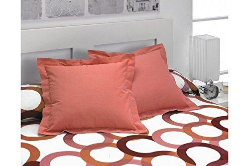 SABANALIA - Pack 2 Unidades Funda de cojín Basic Colours, 50 x 50, Coral 🔥