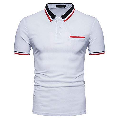 JURTEE Polos para Hombre Simple Solid Color Camiseta De...