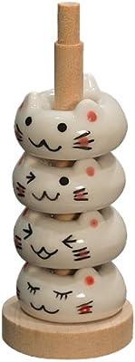 田中箸店 ドーナツ箸置 しろねこセット(木製収納ポール付属)