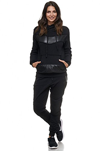 Violento Damen Jogging-Anzug | Leder Anzug 610 (L-fällt groß aus, Schwarz)