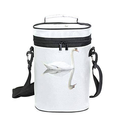 Montoj Weinkühltasche, isoliert, für Reisen, weißer Schwan am See, Tragetasche für Wein
