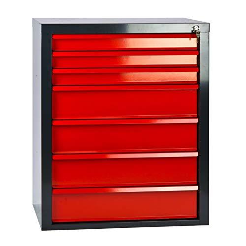 Werkstatt-Schubladenschrank mit 7 Schubladen, BxTxH: 700x435x900 mm, Anthrazitgrau/rot